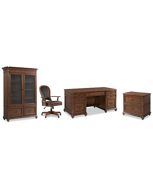Furniture Clinton Hill Cherry Home Office, 4-Pc. Set (Executive Desk, Lateral File Cabinet, Door Bookcase & Leather Desk Chair), Created for Macy's