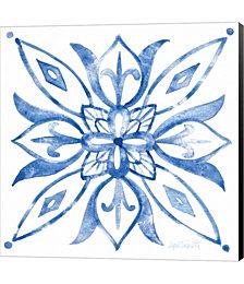 Tile Stencil II Blue by Anne Tavoletti Canvas Art
