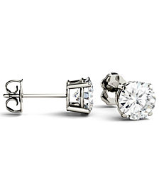Moissanite Stud Earrings (2 ct. t.w. Diamond Equivalent) in 14k White or Yellow Gold