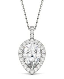 Moissanite Pear Halo Pendant (2-3/8 ct. tw. Diamond Equivalent) in 14k White Gold