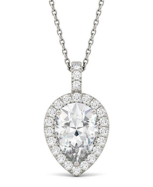 Charles & Colvard Moissanite Pear Halo Pendant (2-3/8 ct. tw. Diamond Equivalent) in 14k White Gold
