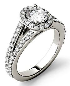 Moissanite Split Shank Oval Halo Ring (1-1/2 ct. tw. Diamond Equivalent) in 14k White Gold