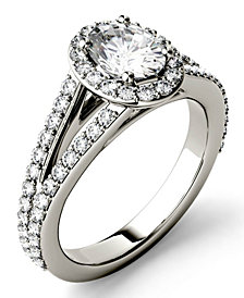 Moissanite Split Shank Oval Halo Ring (1-1/2 ct. tw.) in 14k White Gold