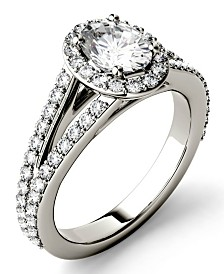 Moissanite Split Shank Oval Halo Ring (1-1/2 ct. tw. Diamond Equivalent) in 14k White Gold