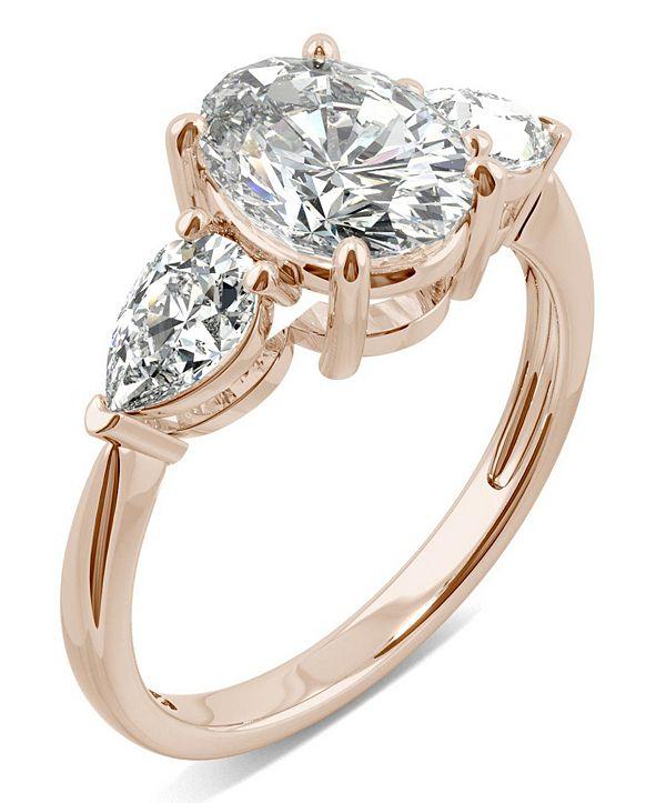 Charles & Colvard Moissanite Oval Three Stone Ring (3 ct. tw. Diamond Equivalent) in 14k Rose Gold