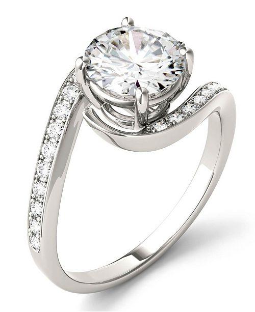 Charles & Colvard Moissanite Round Swirl Engagement Ring (1-3/4 ct. t.w. Diamond Equivalent) in 14k White Gold