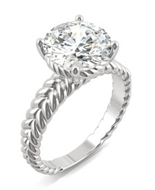Moissanite Round Twisted Shank Ring (2-3/4 ct. tw. Diamond Equivalent) in 14k White Gold