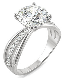 Moissanite Round Solitaire with Sides Ring (2-9/10 ct. tw.) in 14k White Gold