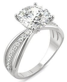 Moissanite Round Solitaire with Sides Ring (2-9/10 ct. tw. Diamond Equivalent) in 14k White Gold