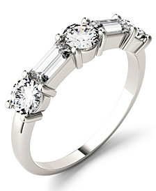 Moissanite Round and Baguette Stackable Ring (1-1/6 ct. tw.) in 14k White or Rose Gold
