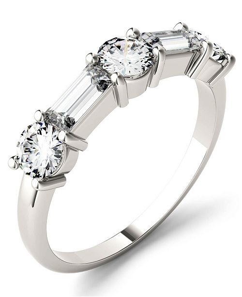 Charles & Colvard Moissanite Round and Baguette Stackable Ring (1-1/6 ct. tw. Diamond Equivalent) in 14k White or Rose Gold