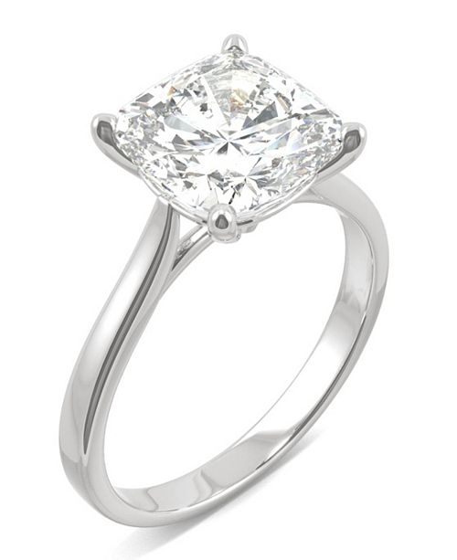 Charles & Colvard Moissanite Cushion Solitaire Ring (3-1/3 ct. tw.) in 14k White Gold
