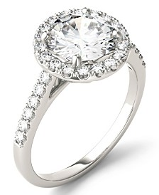 Moissanite Round Halo Ring (2-1/3 ct. tw. Diamond Equivalent) in 14k White Gold