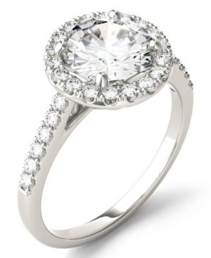 Moissanite Round Halo Ring (2-1/3 ct. tw. Diamond Equivalent) in 14k White Gold