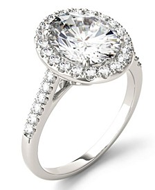 Moissanite Oval Halo Ring (3-1/2 ct. tw. Diamond Equivalent) in 14k White Gold