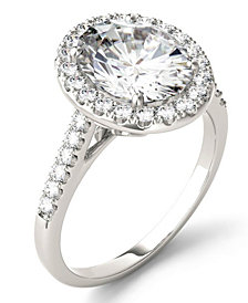 Moissanite Oval Halo Ring (3-1/2 ct. tw.) in 14k White Gold