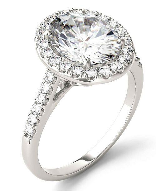 Charles & Colvard Moissanite Oval Halo Ring (3-1/2 ct. tw. Diamond Equivalent) in 14k White Gold