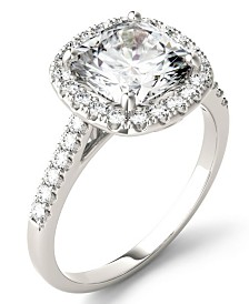 Moissanite Cushion Halo Ring (2-7/8 ct. tw. Diamond Equivalent) in 14k White Gold