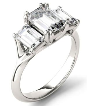 Moissanite Emerald Three Stone Ring (2-9/10 ct. tw.) in 14k White Gold
