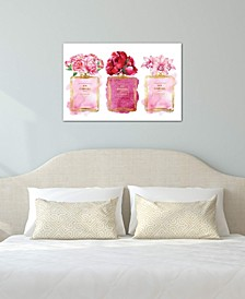 """""""Three Perfume Bottles In Pink"""" by Amanda Greenwood Gallery-Wrapped Canvas Print"""