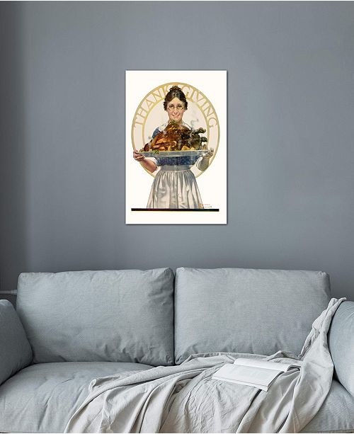 "iCanvas ""Woman Holding Platter with Turkey"" by Norman Rockwell Gallery-Wrapped Canvas Print"