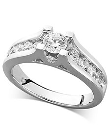 Certified Diamond Channel Engagement Ring in 14k White Gold (1 ct. t.w.)