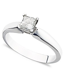 Certified Princess-Cut Diamond Solitaire Engagement Ring in 14k White Gold (3/8 ct. t.w.)