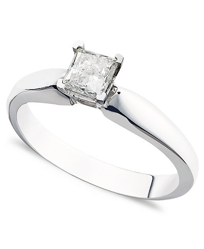 Certified Princess Cut Diamond Solitaire Engagement Ring In 14k White Gold 3 8