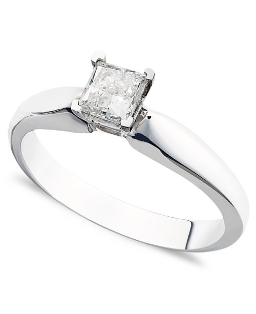 Macy's Certified Princess-Cut Diamond Solitaire Engagement Ring in 14k White Gold (3/8 ct. t.w.)