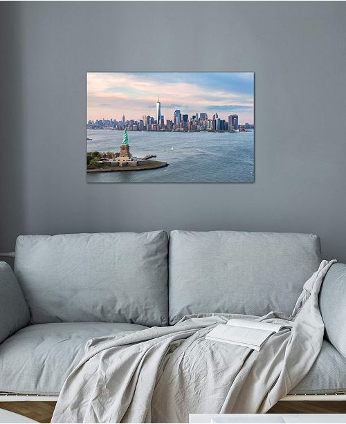 """iCanvas """"Statue Of Liberty, New York Harbor, Manhattan Skyline, New York City, New York, USA"""" by Matteo Colombo Gallery-Wrapped Canvas Print (26 x 40 x 0.75)"""