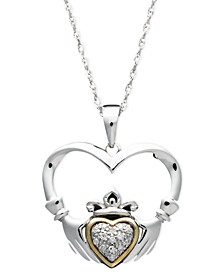 14k Gold and Sterling Silver Necklace, Diamond Accent Claddagh Pendant