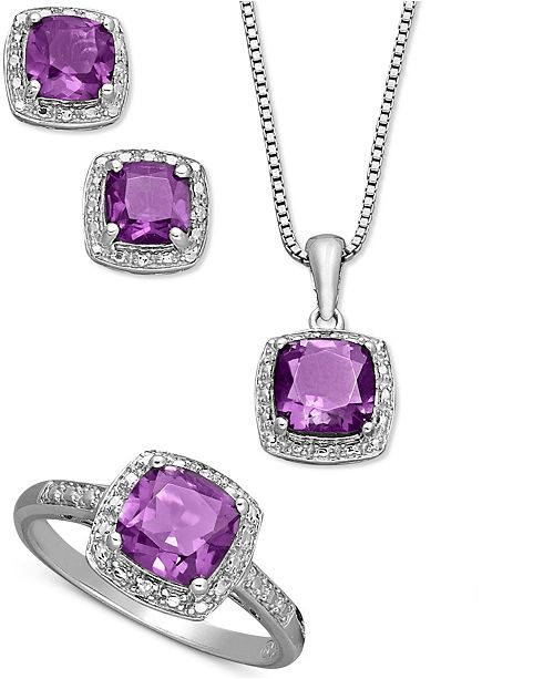 fdaafdc71 Macy's Sterling Silver Jewelry Set, Cushion Cut Amethyst Pendant, Earrings  and Ring Set (