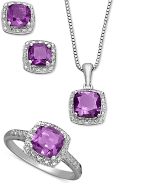 Sterling Silver Jewelry Set, Cushion Cut Amethyst Pendant, Earrings and Ring Set (4-1/3 ct. t.w.)