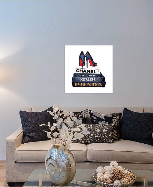 """iCanvas """"Stack Of Fashion Books With Spiked Shoes"""" by Amanda Greenwood Gallery-Wrapped Canvas Print (18 x 18 x 0.75)"""