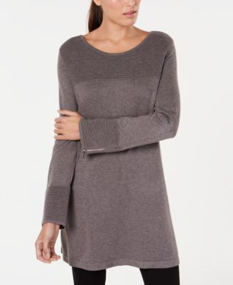 Image of Alfani Ribbed Tunic Sweater, Created for Macy's