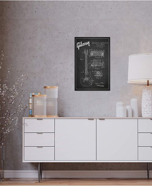 "iCanvas ""Gibson Guitar Charcoal Patent Blueprint"" by Aged Pixel Gallery-Wrapped Canvas Print (26 x 18 x 0.75)"