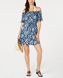 MICHAEL Michael Kors Cold-Shoulder Ruffle Dress Cover-Up
