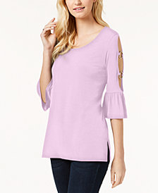 JM Collection Ring-Detailed Cutout Ruffle-Sleeved Top, Created for Macy's