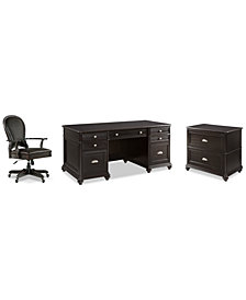 Clinton Hill Ebony Home Office, 3-Pc. Set (Executive Desk, Lateral File Cabinet & Leather Desk Chair), Created for Macy's