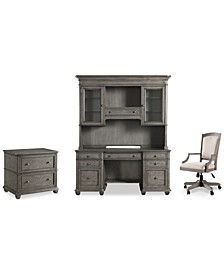 Sloane Home Office, 4-Pc. Set (Credenza, Hutch, Lateral File Cabinet & Upholstered Desk Chair), Created for Macy's