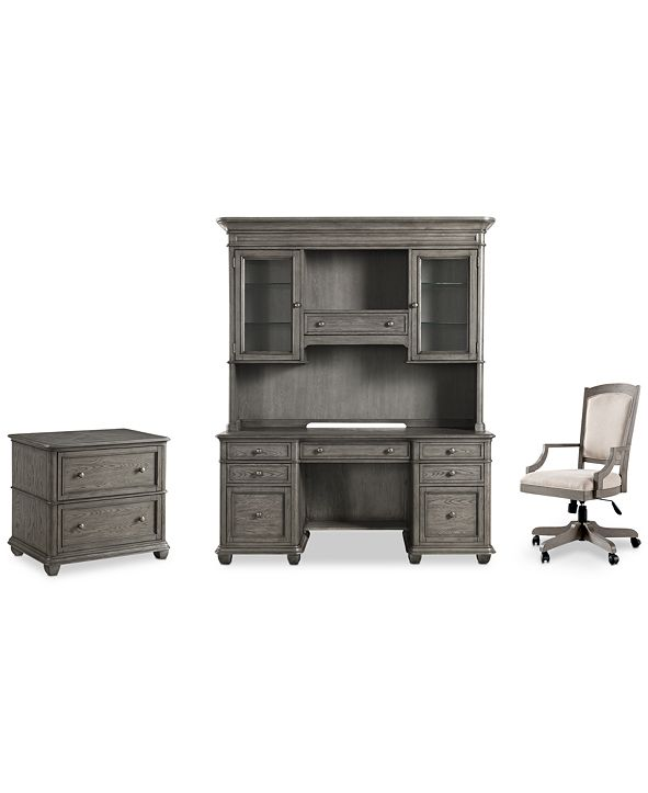 Furniture Sloane Home Office, 4-Pc. Set (Credenza, Hutch, Lateral File Cabinet & Upholstered Desk Chair), Created for Macy's