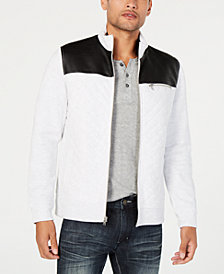 I.N.C. Men's Buster Faux Fur Lined Faux Leather Colorblocked Jacket, Created for Macy's