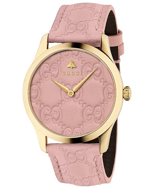 Gucci Women's Swiss G-Timeless Pink Leather Strap Watch 38mm