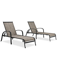 Reyna Outdoor Aluminum 2-Pc. Chaise Set (2 Chaise Lounges), Created For Macy's