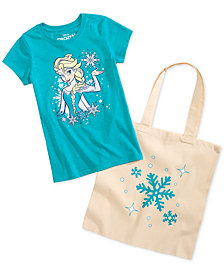 Disney Little Girls 2-Pc. Elsa Graphic-Print T-Shirt & Tote Bag Set