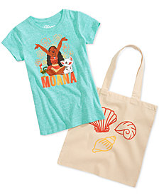 Disney Little Girls 2-Pc. Moana Graphic-Print T-Shirt & Tote Bag Set