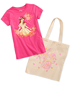 Disney Little Girls 2-Pc. Belle Graphic-Print T-Shirt & Tote Bag Set