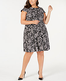 Jessica Howard Plus Size Puff Floral-Print Fit & Flare Dress