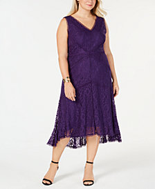 Taylor Plus Size Allover Lace Midi Dress