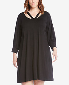 Karen Kane Plus Size Cross-Front Taylor Dress